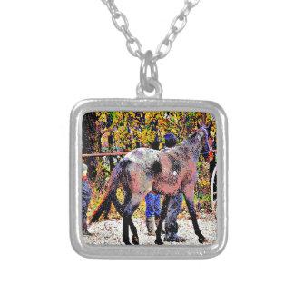 8-bit New Amish Horse Square Pendant Necklace