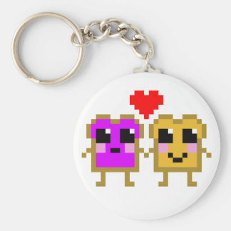 8 Bit Peanut Butter and Jelly Basic Round Button Keychain