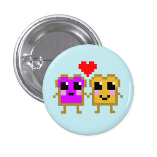 8 Bit Peanut Butter and Jelly Pinback Button