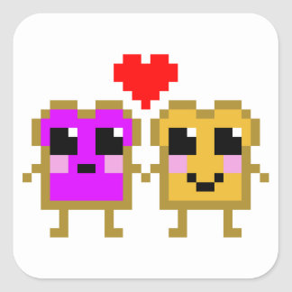 8 Bit Peanut Butter and Jelly Square Sticker