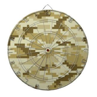 8 Bit Pixel Desert Camouflage / Camo Dartboard With Darts