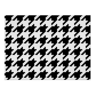 8 Bit Pixel Houndstooth Check Pattern Poster