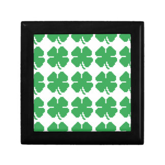 8 Bit Pixel Lucky Four Leaf Clover Gift Box