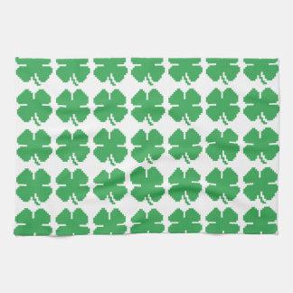 8 Bit Pixel Lucky Four Leaf Clover Kitchen Towel
