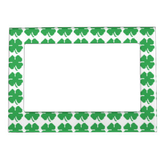 8 Bit Pixel Lucky Four Leaf Clover Magnetic Picture Frame