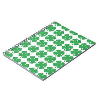 8 Bit Pixel Lucky Four Leaf Clover Notebook