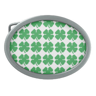 8 Bit Pixel Lucky Four Leaf Clover Oval Belt Buckle