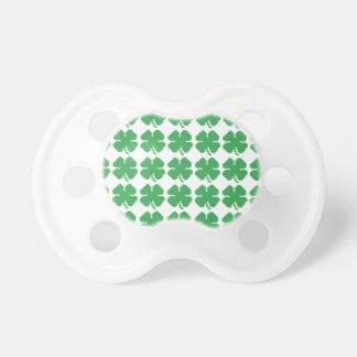 8 Bit Pixel Lucky Four Leaf Clover Pacifier