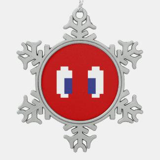 8 Bit Pixel Manga Eyes Snowflake Pewter Christmas Ornament