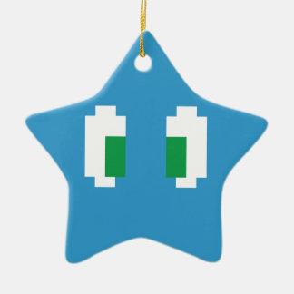 8 Bit Pixel Manga Green Eyes Ceramic Ornament