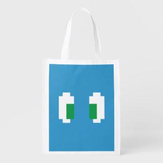 8 Bit Pixel Manga Green Eyes Reusable Grocery Bag
