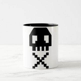 8-bit Pixel Skull Two-Tone Coffee Mug