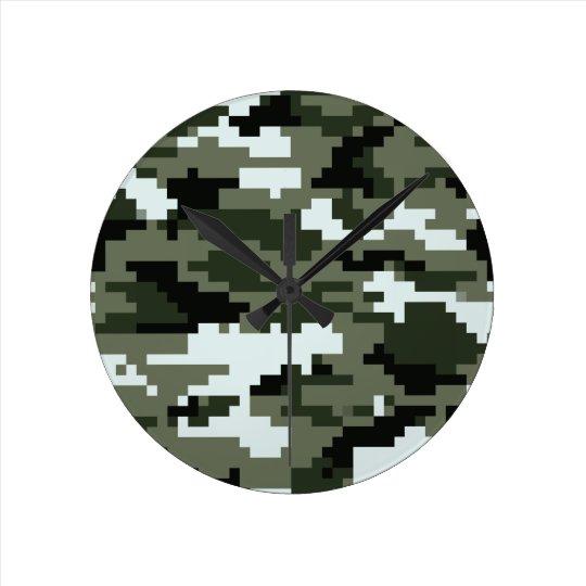 8 Bit Pixel Urban Camouflage / Camo Round Clock