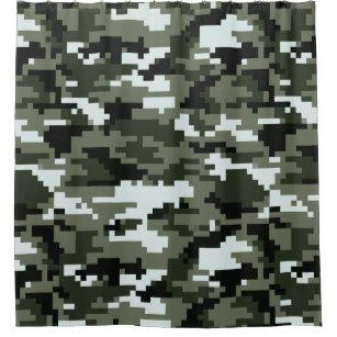 8 Bit Pixel Urban Camouflage Camo Shower Curtain
