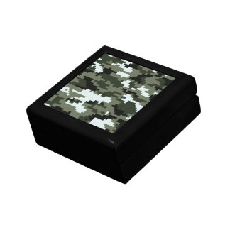 8 Bit Pixel Urban Camouflage Jewelry Box