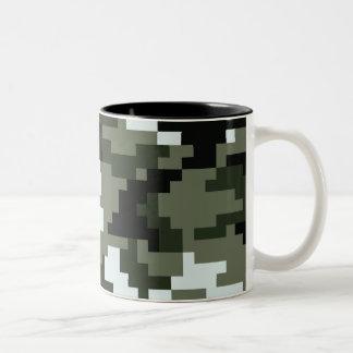 8 Bit Pixel Urban Camouflage Two-Tone Coffee Mug