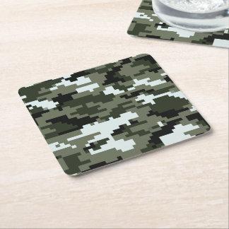 8 Bit Pixel Urban Camouflage Square Paper Coaster