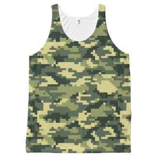 8 Bit Pixel Woodland Camouflage / Camo All-Over Print Tank Top