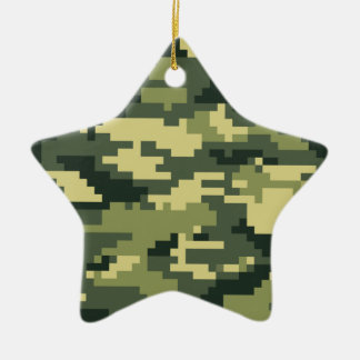 8 Bit Pixel Woodland Camouflage / Camo Ceramic Ornament