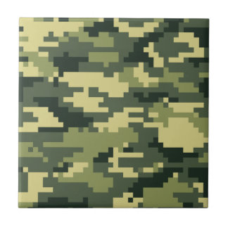 8 Bit Pixel Woodland Camouflage / Camo Ceramic Tile