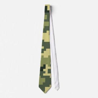 8 Bit Pixel Woodland Camouflage / Camo Neck Tie