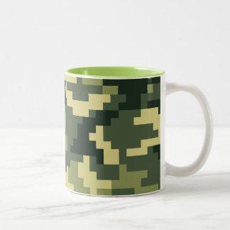 8 Bit Pixel Woodland Camouflage / Camo Two-Tone Coffee Mug