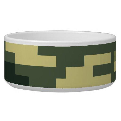 8 Bit Pixel Woodland Camouflage Dog Bowls