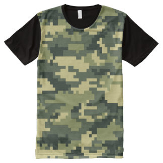 8 Bit Pixel Woodland Camouflage All-Over Print T-shirt