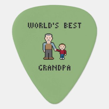 8 Bit Pixel World's Best Grandpa Guitar Pick by LVMENES at Zazzle