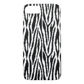 8 Bit Pixel Zebra Print Design Pattern iPhone 7 Case