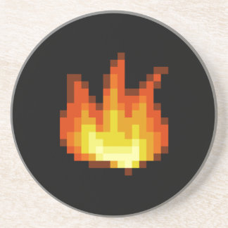 8 Bit Pixeled Fire Beverage Coaster