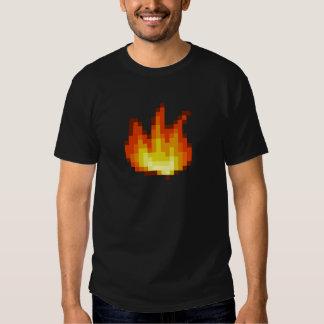 8 Bit Pixeled Fire T Shirts