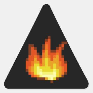 8 Bit Pixeled Fire Triangle Sticker