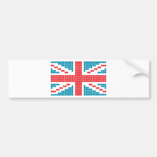 8-bit Pixels Union Jack British(UK) Flag Bumper Sticker