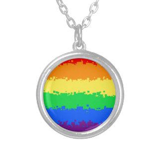 8 Bit Pride Flag Round Pendant Necklace