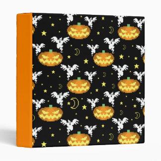8-bit Pumpkin Ghost Pattern Vinyl Binders