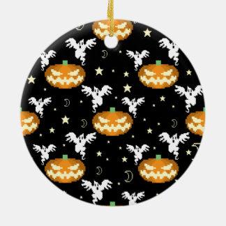 8-bit Pumpkin Ghost Pattern Ceramic Ornament
