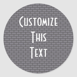 8-Bit Retro Brick, Grey Classic Round Sticker