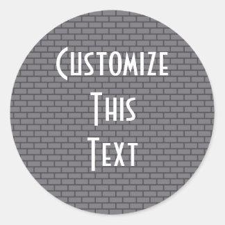 8-Bit Retro Brick, Grey Classic Round Sticker