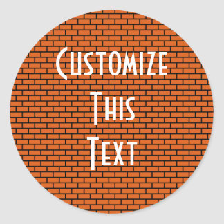 8-Bit Retro Brick, Orange Classic Round Sticker
