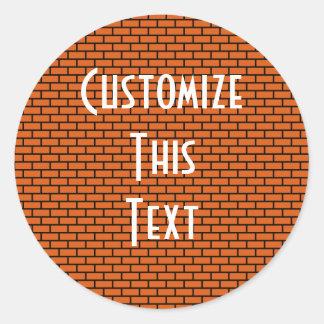 8-Bit Retro Brick, Orange Classic Round Sticker