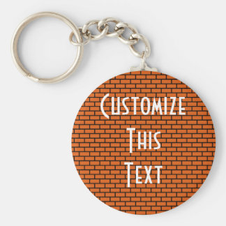 8-Bit Retro Brick, Orange Keychain