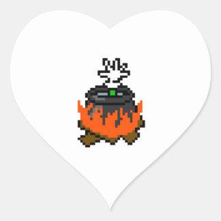 8 bit retro games boiling people in a pot heart sticker
