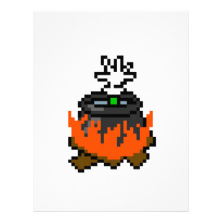 8 bit retro games boiling people in a pot letterhead