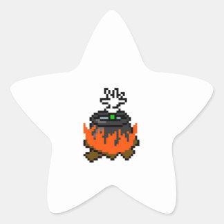8 bit retro games boiling people in a pot star sticker