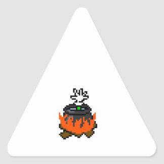 8 bit retro games boiling people in a pot triangle sticker