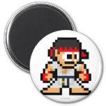 8-Bit Ryu 2 Inch Round Magnet