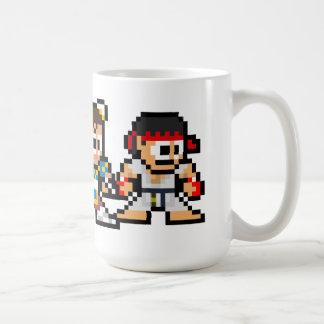 8-Bit Ryu Chun-Li Ken Classic White Coffee Mug
