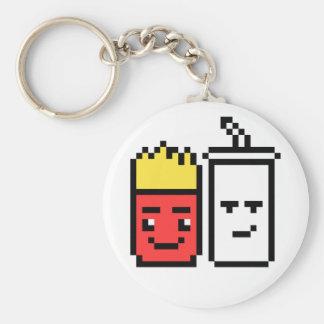 8 Bit Shake and Fries Basic Round Button Keychain