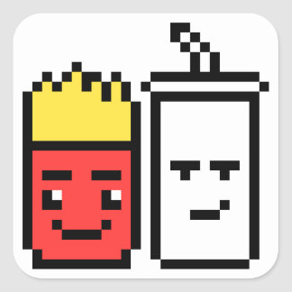 8 Bit Shake and Fries Square Sticker